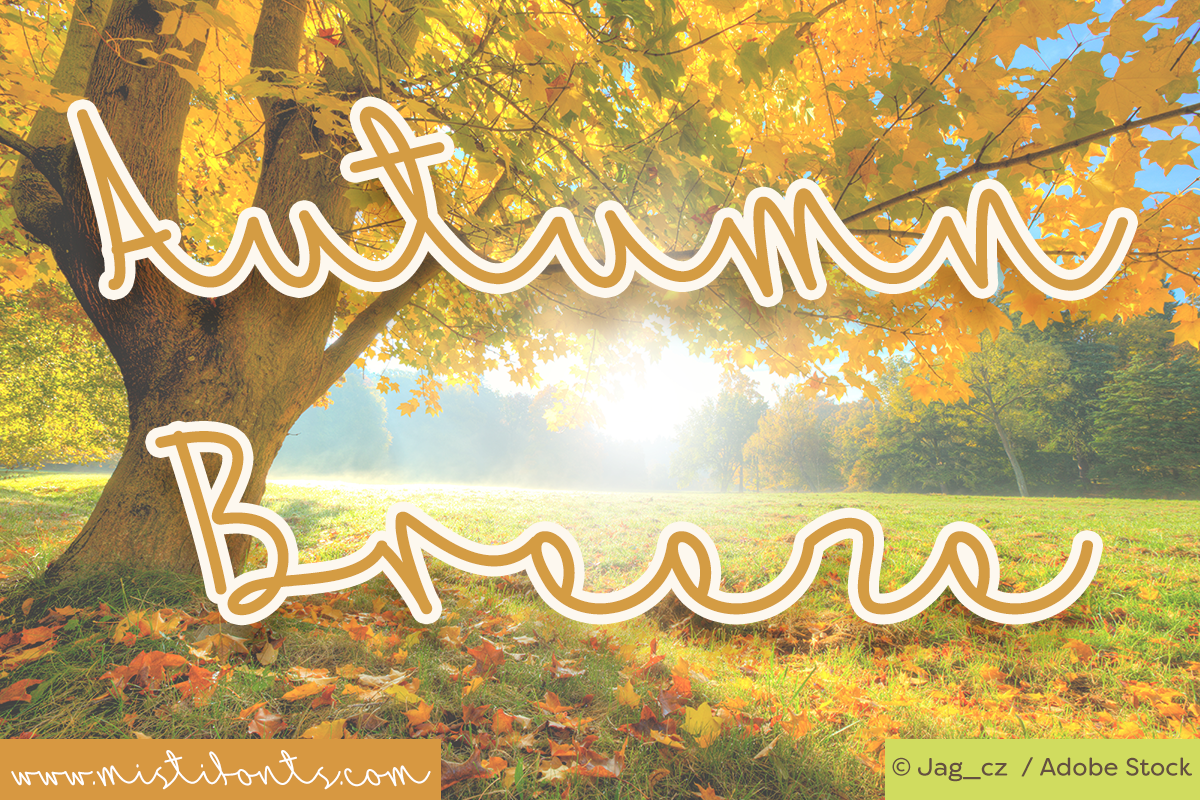 Autumn Breeze Font by Misti's Fonts. Image Credit: © Jag_cz / Adobe Stock