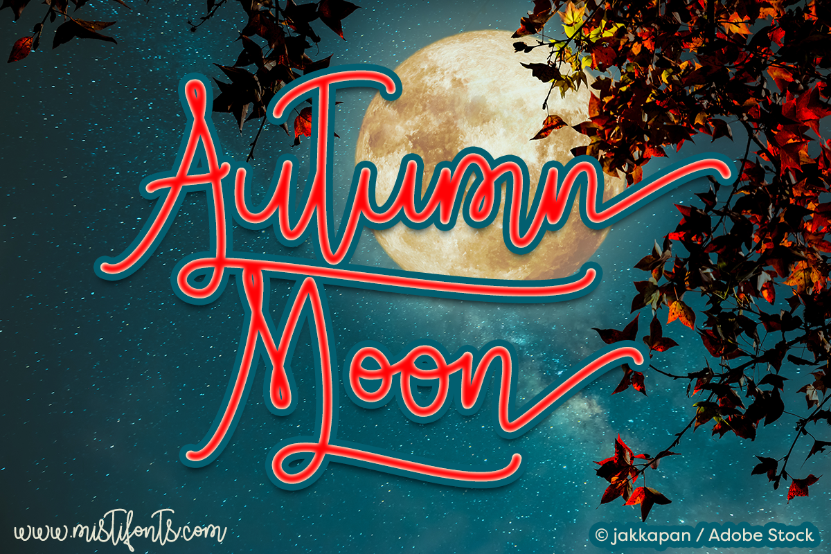 Autumn Moon by Misti's Fonts. Image credit: © jakkapan / Adobe Stock
