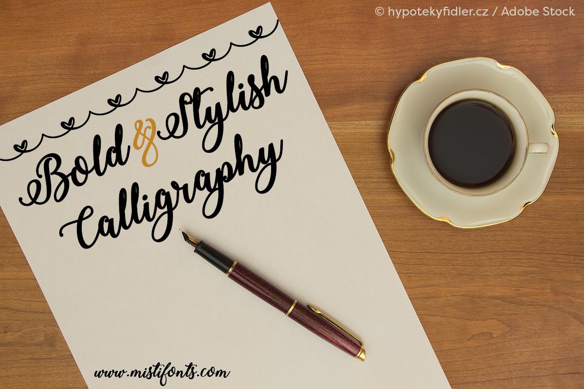 Bold & Stylish Calligraphy by Misti's Fonts. Image Credit: © hypotekyfidler.cz