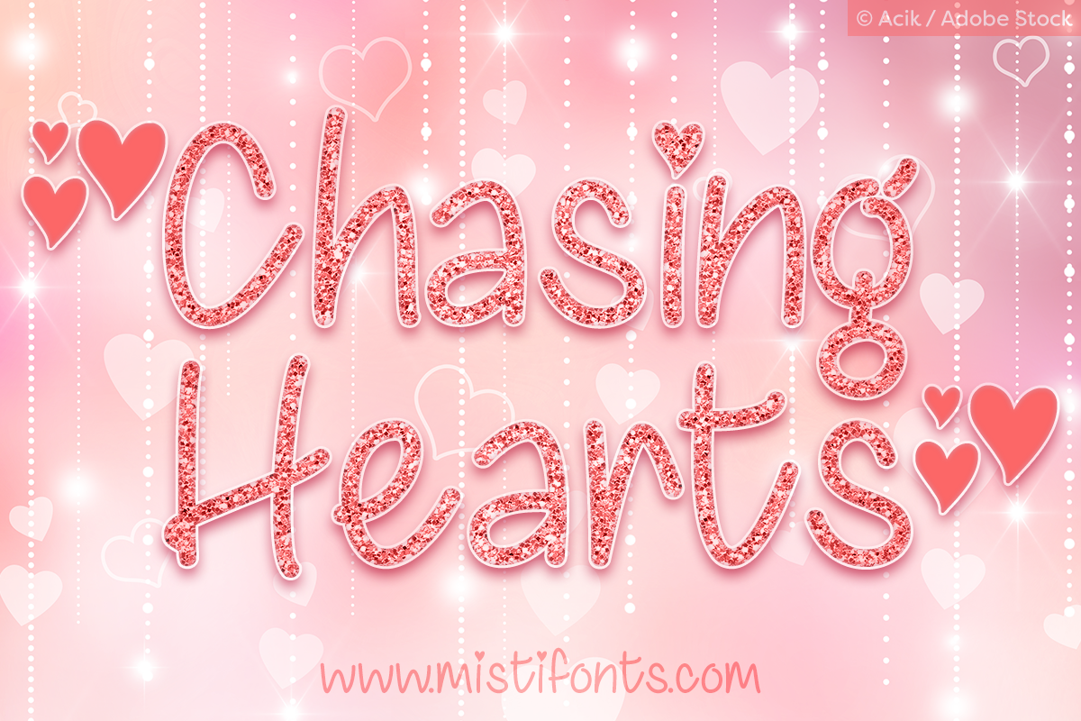 Chasing Hearts by Misti's Fonts. Image Credit: © Acik / Adobe Stock