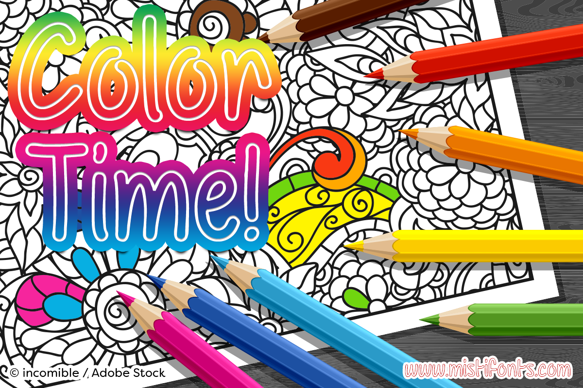 Color Time by Misti's Fonts. Image credit: © incomible / Adobe Stock