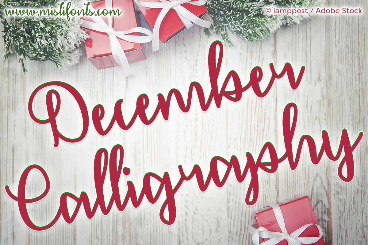 December Calligraphy by Misti's Fonts. Image credit: © lamppost / Adobe Stock