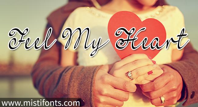 Feel My Heart Font by Misti's Fonts. Image credit:  © dobino / Adobe Stock