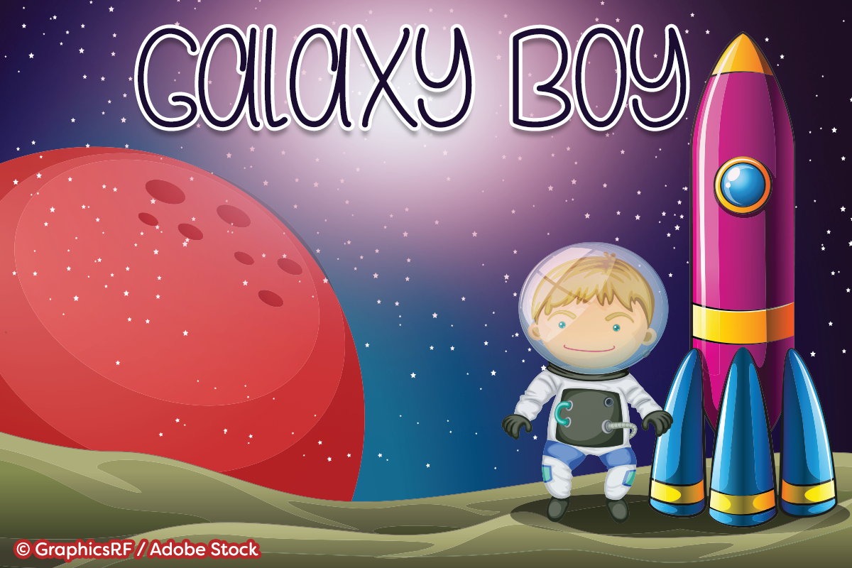 Galaxy Boy by Misti's Fonts. Image credit: © GraphicsRF / Adobe Stock