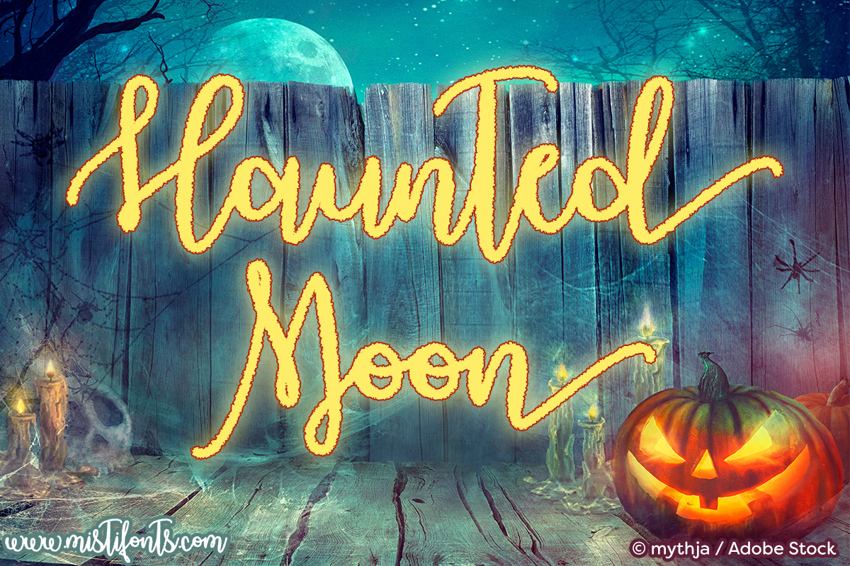 Haunted Moon by Misti's Fonts. Image credit: © mythja / Adobe Stock