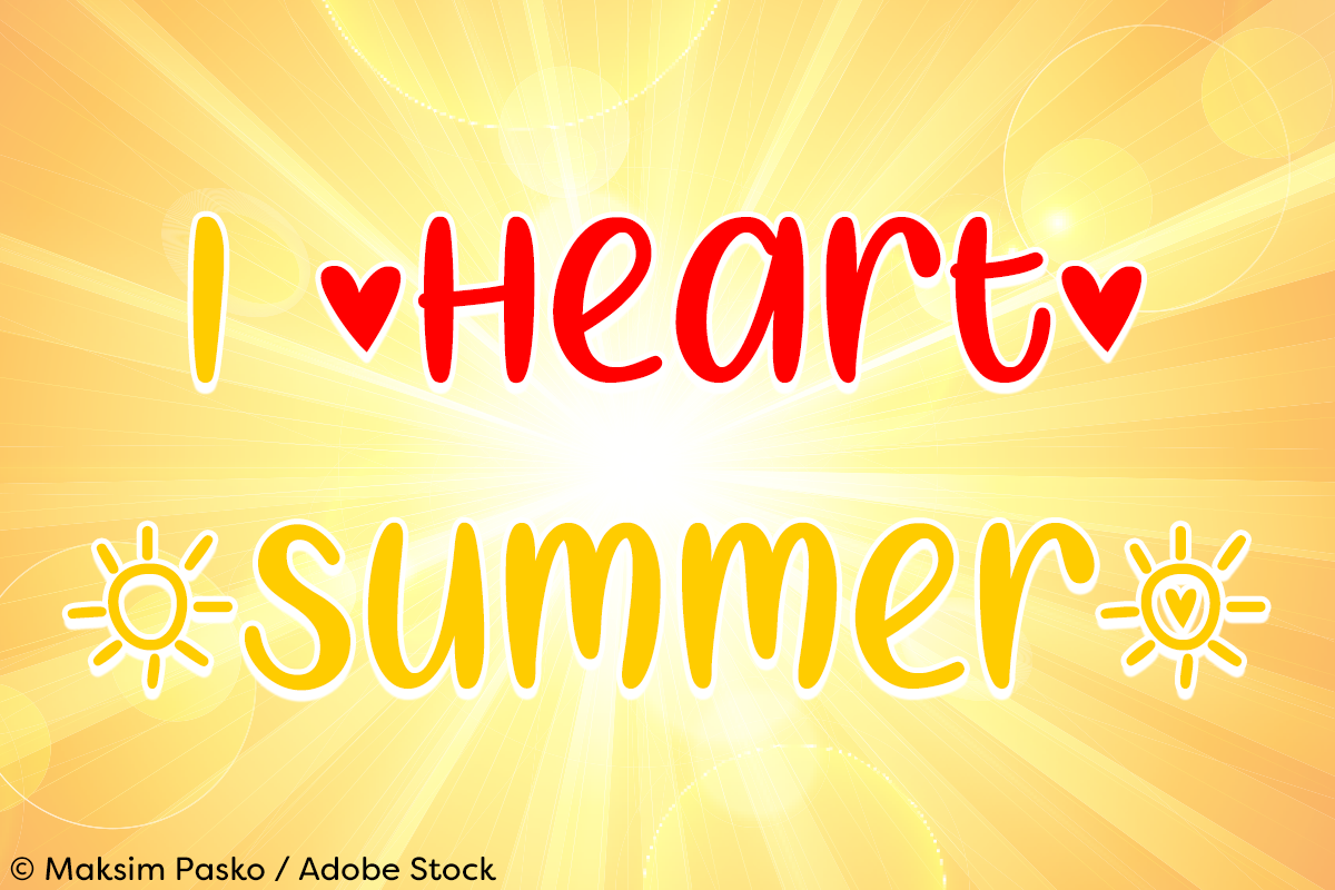 I Heart Summer by Misti's Fonts. Image credit: © Maksim Pasko / Adobe Stock