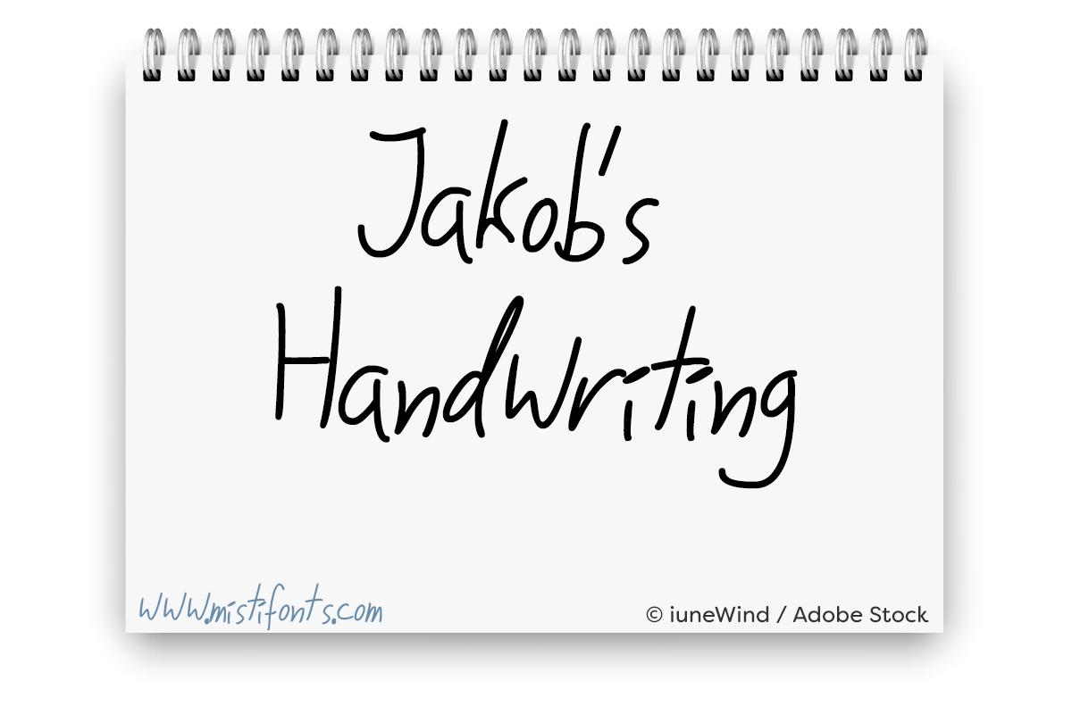 Jakob's Handwriting by Misti's Fonts. Image credit: © iuneWind / Adobe Stock