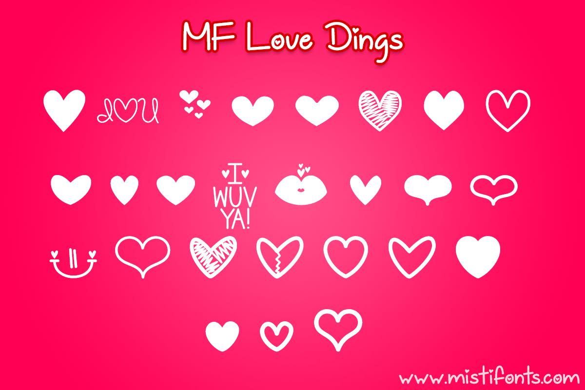 MF Love Dings by Misti's Fonts.