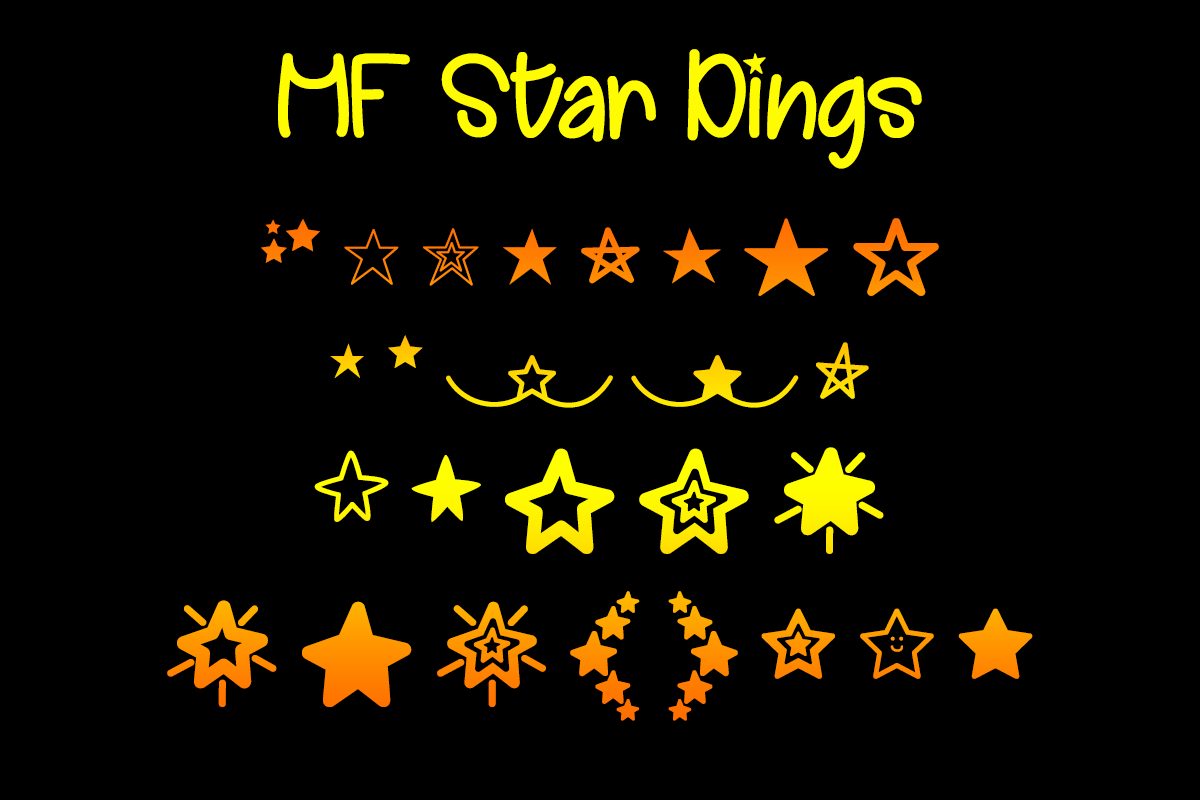 MF Star Dings by Misti's Fonts.