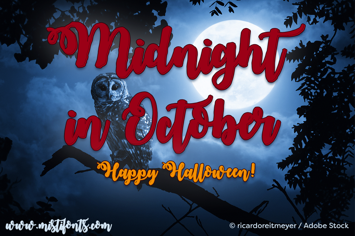 Midnight in October by Misti's Fonts. Image credit: © ricardoreitmeyer / Adobe Stock