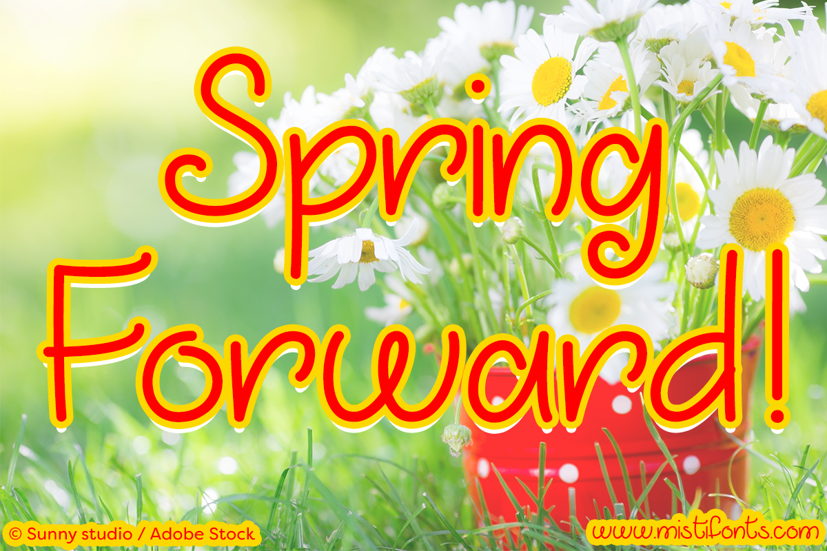 March into Spring by Misti's Fonts. Image Credit: © Sunny studio / Adobe Stock
