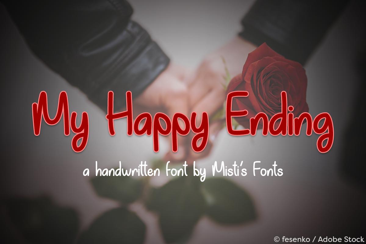 My Happy Ending by Misti's Fonts. Image credit: © fesenko / Adobe Stock