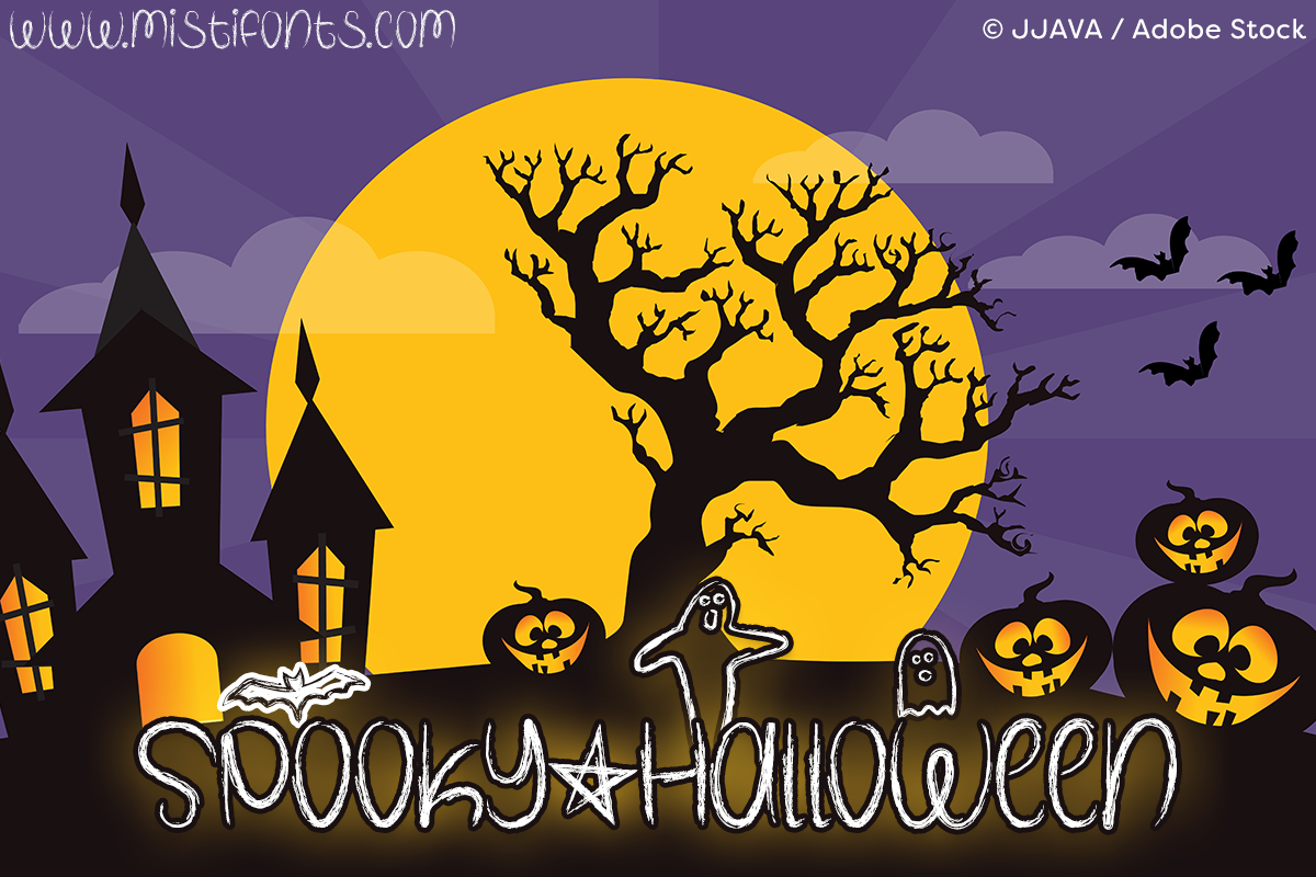 Spooky Halloween by Misti's Fonts. Image credit: © JJAVA / Adobe Stock