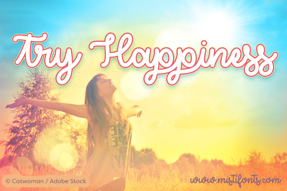 Try Happiness by Misti's Fonts. Image Credit: © Catwoman / Adobe Stock