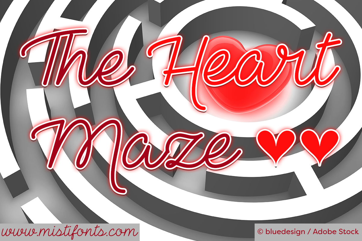 The Heart Maze Font by Misti's Fonts. Image credit: © bluedesign / Adobe Stock