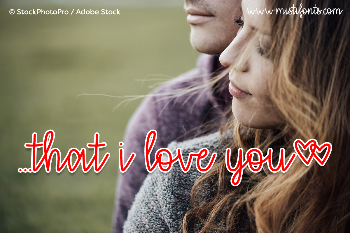 that i love you by Misti's Fonts. Image credit: © StockPhotoPro / Adobe Stock