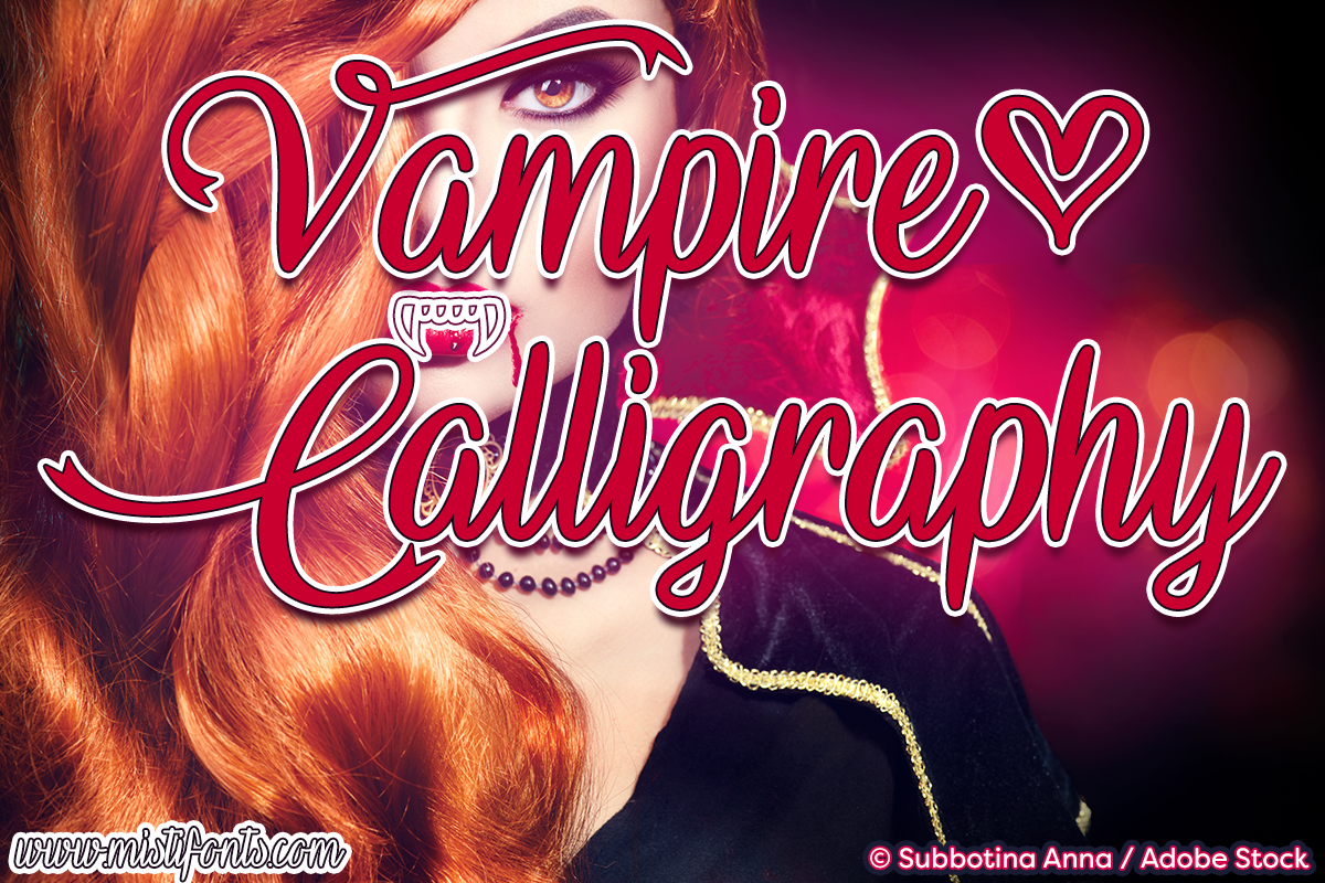 Vampire Calligraphy by Misti's Fonts. Image credit: © Subbotina Anna / Adobe Stock