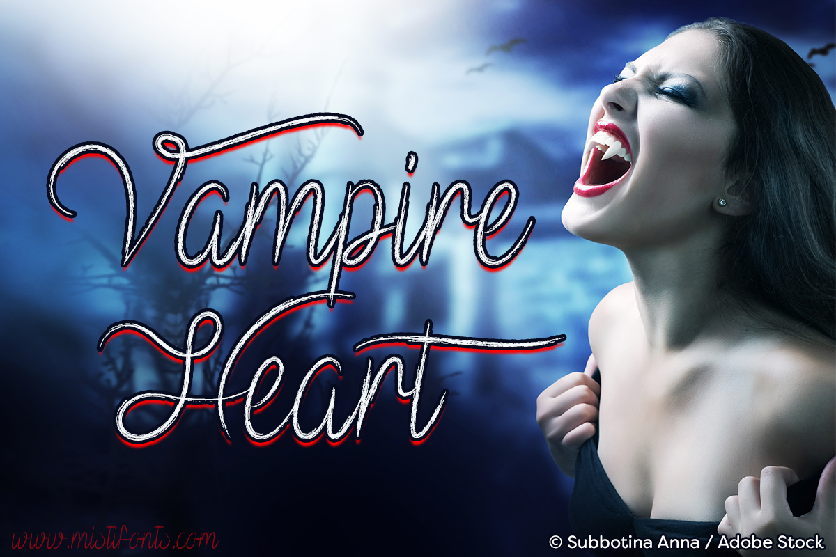 Vampire Heart by Misti's Fonts. Image credit: © Subbotina Anna / Adobe Stock