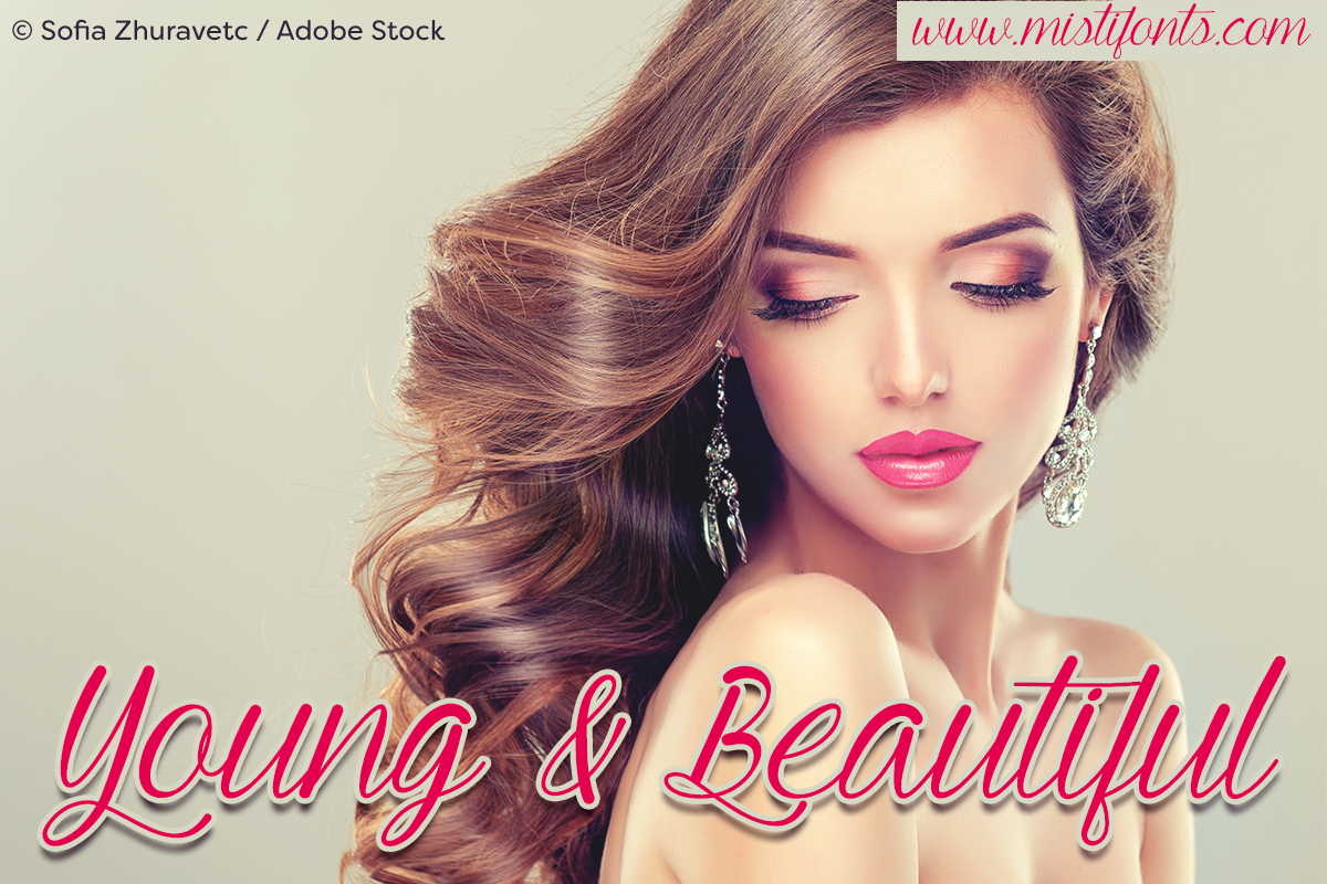 Young & Beautiful by Misti's Fonts. Image Credit: © Sofia Zhuravetc / Adobe Stock