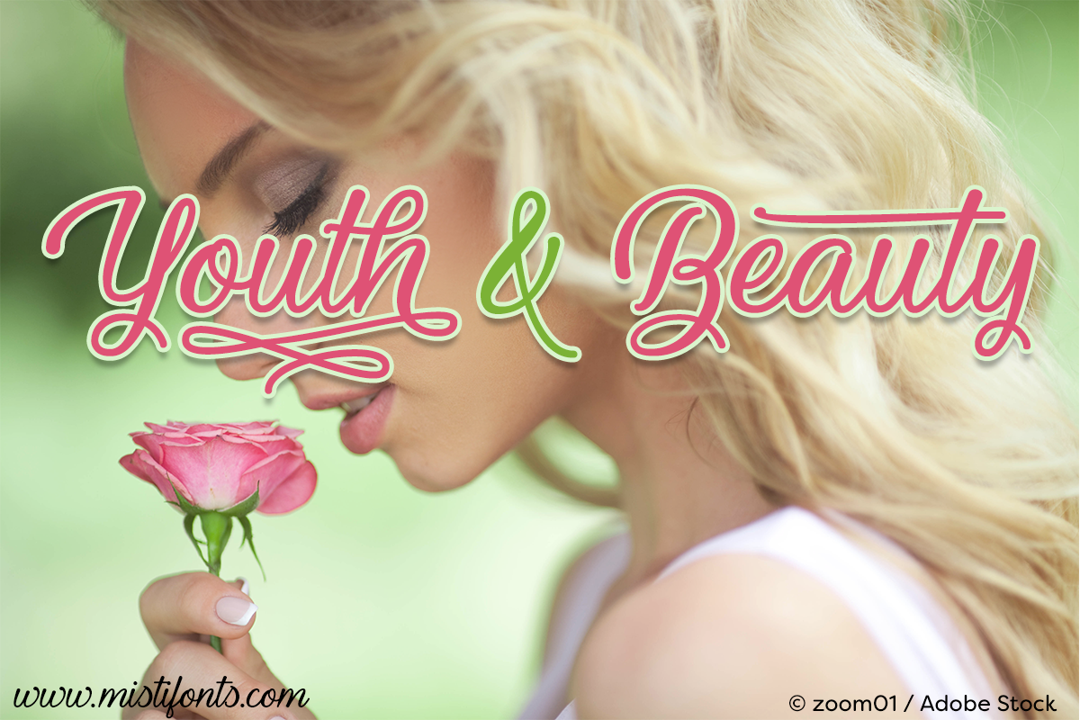 Youth and Beauty by Misti's Fonts. Image Credit: © zoom01 / Adobe Stock